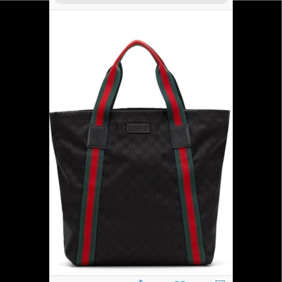 938ac610ed2e Gucci Bags | Black Gg Canvas Web Stripe Travel Tote | Poshmark